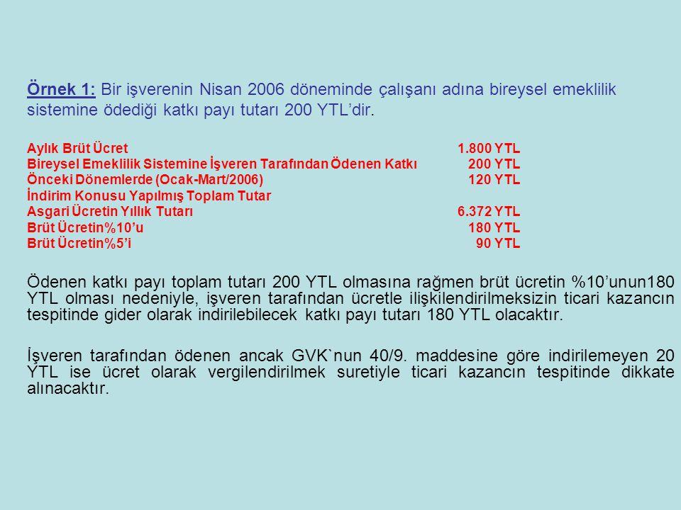 Örnek 1: Bir işverenin Nisan 2006 döneminde çalışanı adına bireysel emeklilik sistemine ödediği katkı payı tutarı 200 YTL'dir.