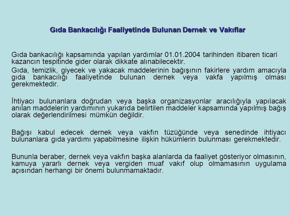 Gıda Bankacılığı Faaliyetinde Bulunan Dernek ve Vakıflar Gıda bankacılığı kapsamında yapılan yardımlar 01.01.2004 tarihinden itibaren ticari kazancın tespitinde gider olarak dikkate alınabilecektir.