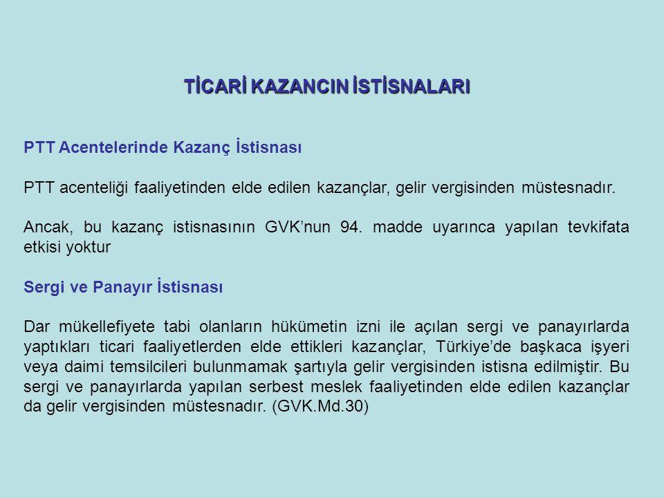TİCARİ KAZANCIN İSTİSNALARI PTT Acentelerinde Kazanç İstisnası PTT acenteliği faaliyetinden elde edilen kazançlar, gelir vergisinden müstesnadır.