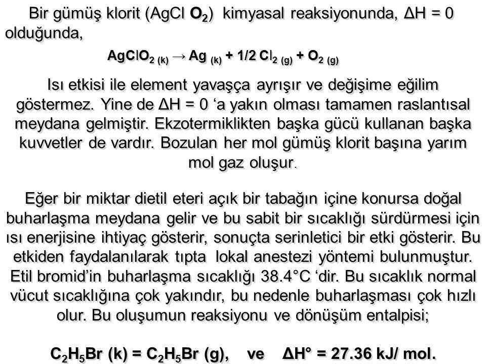 Bir gümüş klorit (AgCl O 2 ) kimyasal reaksiyonunda, ΔH = 0 olduğunda, AgClO 2 (k) → Ag (k) + 1/2 Cl 2 (g) + O 2 (g) Isı etkisi ile element yavaşça ay