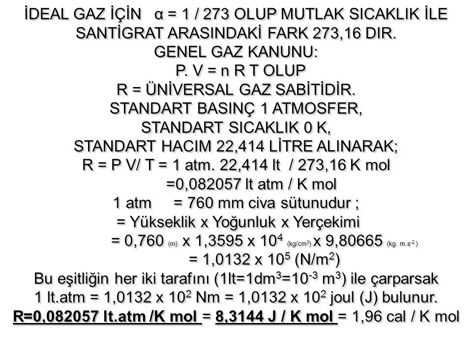 İDEAL GAZ İÇİN α = 1 / 273 OLUP MUTLAK SICAKLIK İLE SANTİGRAT ARASINDAKİ FARK 273,16 DIR. GENEL GAZ KANUNU: P. V = n R T OLUP R = ÜNİVERSAL GAZ SABİTİ