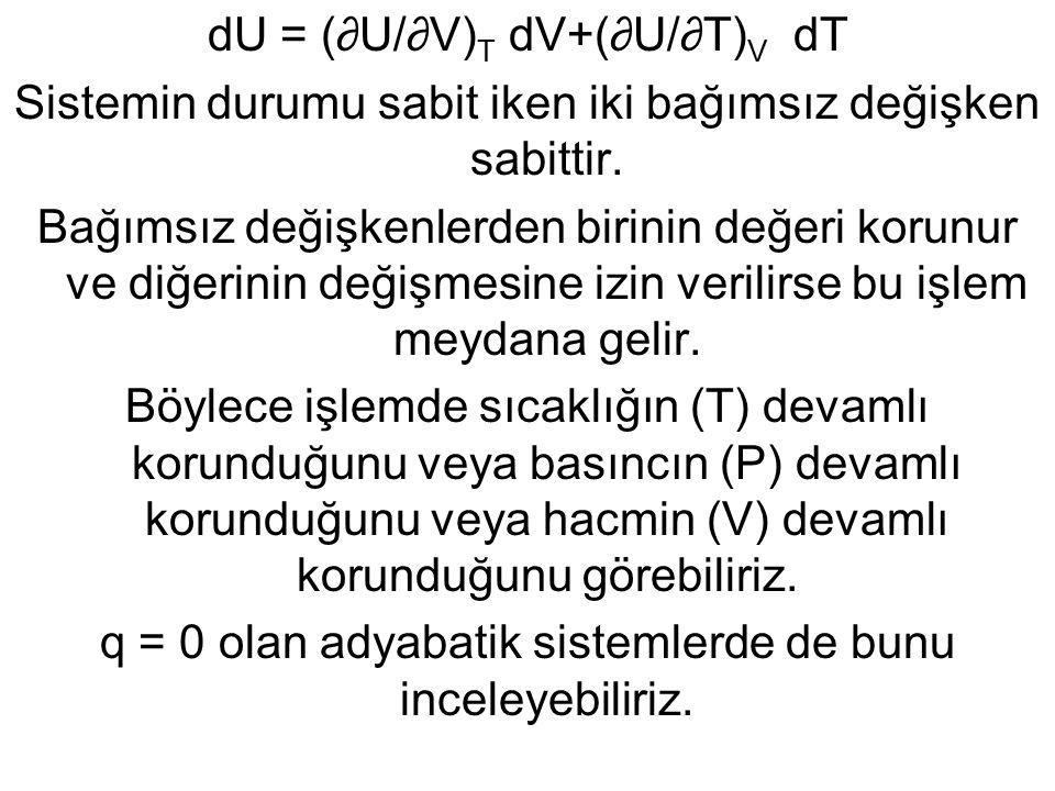 dU = (∂U/∂V) T dV+(∂U/∂T) V dT Sistemin durumu sabit iken iki bağımsız değişken sabittir. Bağımsız değişkenlerden birinin değeri korunur ve diğerinin