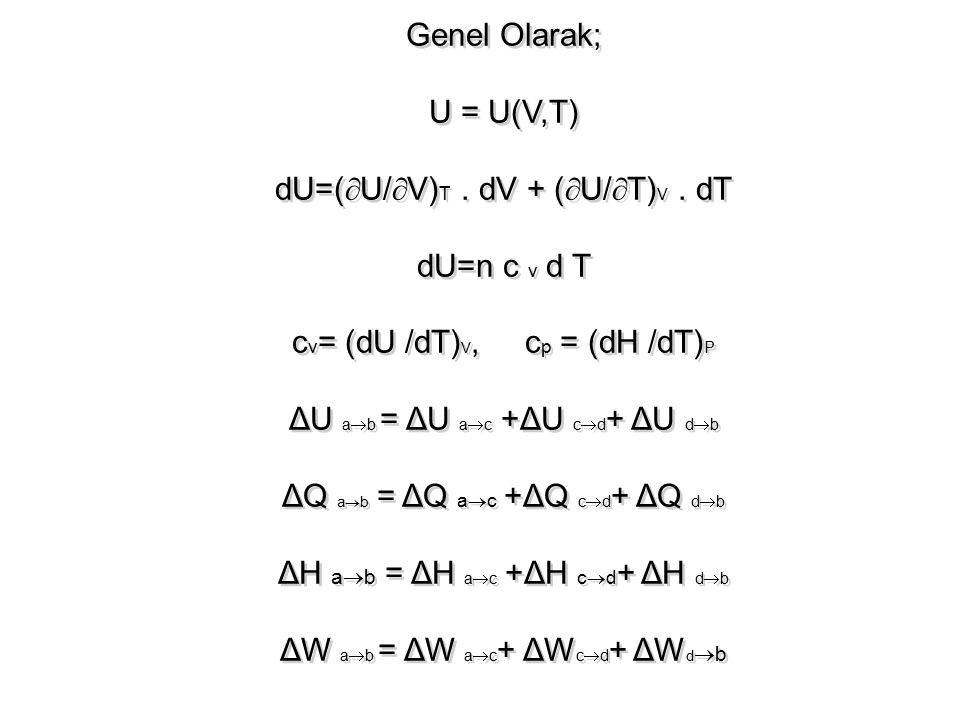 Genel Olarak; U = U(V,T) dU=(  U/  V) T. dV + (  U/  T) V. dT dU=n c v d T c v = (dU /dT) V, c p = (dH /dT) P ΔU a  b = ΔU a  c +ΔU c  d + ΔU d