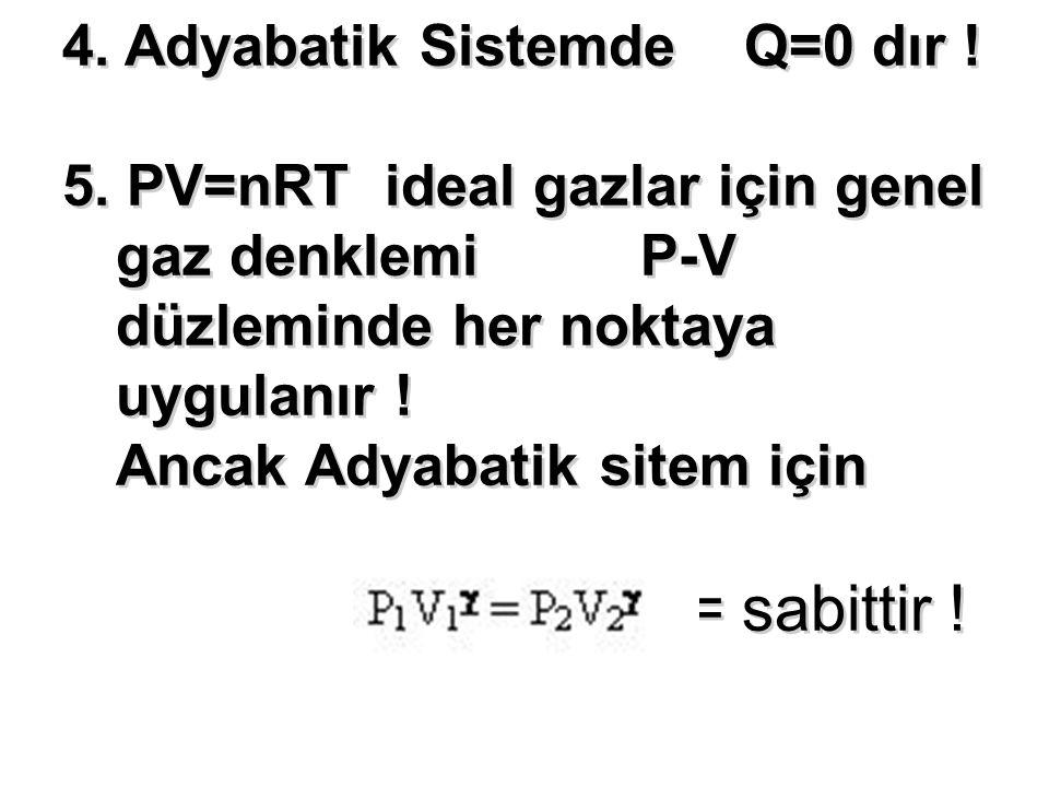 4. Adyabatik Sistemde Q=0 dır ! 5. PV=nRT ideal gazlar için genel gaz denklemi P-V düzleminde her noktaya uygulanır ! Ancak Adyabatik sitem için = sab