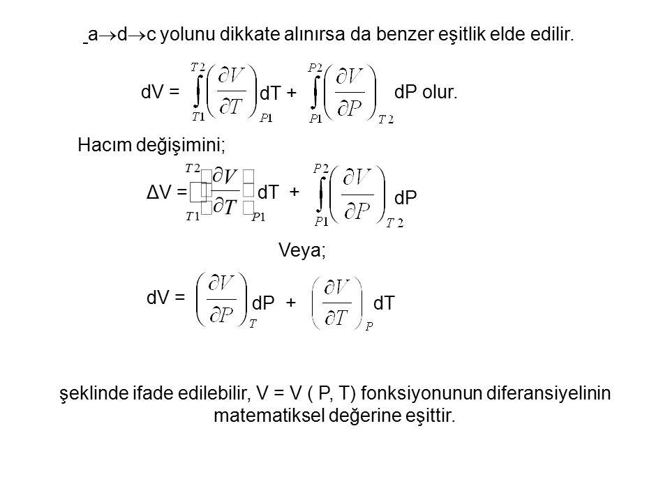 a  d  c yolunu dikkate alınırsa da benzer eşitlik elde edilir. dV = dT + dP olur. Hacım değişimini; ΔV =dT 1 2 1 P T T T V          + dP Ve