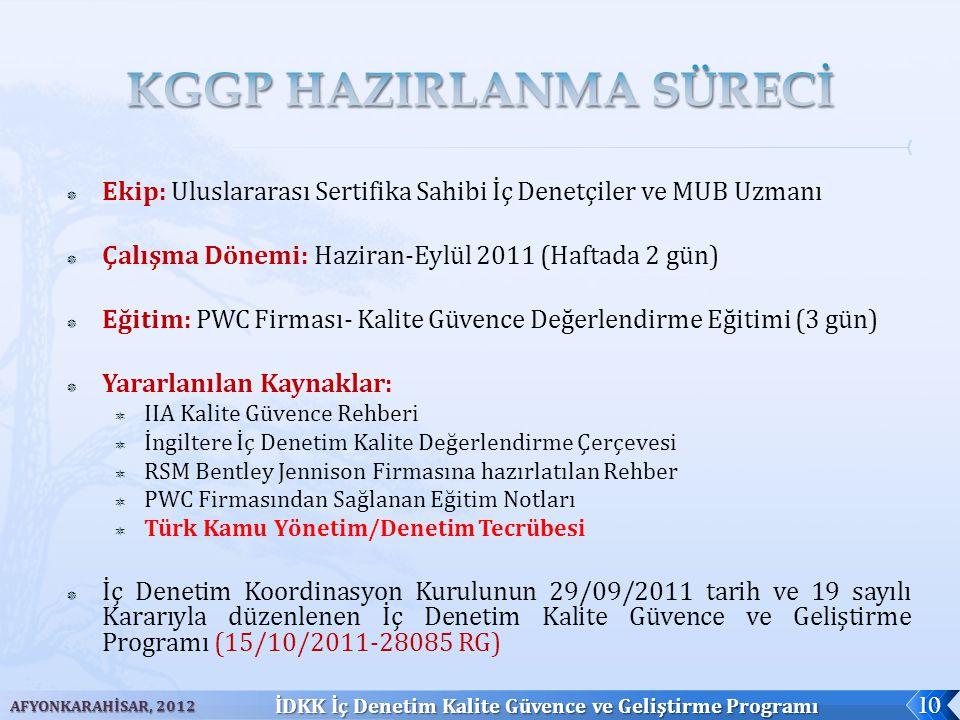  Ekip: Uluslararası Sertifika Sahibi İç Denetçiler ve MUB Uzmanı  Çalışma Dönemi: Haziran-Eylül 2011 (Haftada 2 gün)  Eğitim: PWC Firması- Kalite G