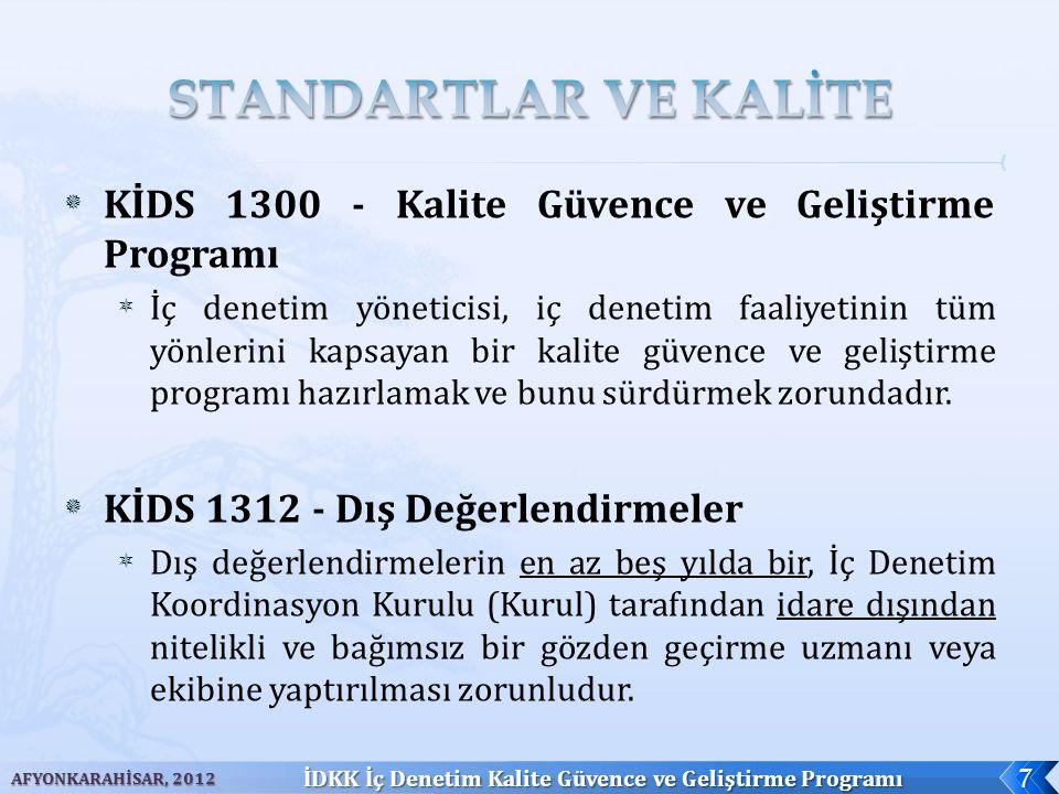  Tanımlar (İDÇUEHY/Md.4) ;  İç denetim birimince ve İç Denetim Koordinasyon Kurulunca, ilgili kamu idaresinde yürütülen iç denetim faaliyetinin tüm yönleriyle değerlendirilmesi, standartlara ve etik kurallara uygunluğunun izlenmesi ve geliştirilmesine ilişkin program  İDKK Görevleri (5018 sayılı KMYKK/Md.67-l);  Kalite güvence ve geliştirme programını düzenlemek ve iç denetim birimlerini bu kapsamda değerlendirmek AFYONKARAHİSAR, 2012 İDKK İç Denetim Kalite Güvence ve Geliştirme Programı 8