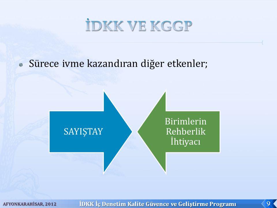  Sürece ivme kazandıran diğer etkenler; AFYONKARAHİSAR, 2012 İDKK İç Denetim Kalite Güvence ve Geliştirme Programı 9 SAYIŞTAY Birimlerin Rehberlik İh