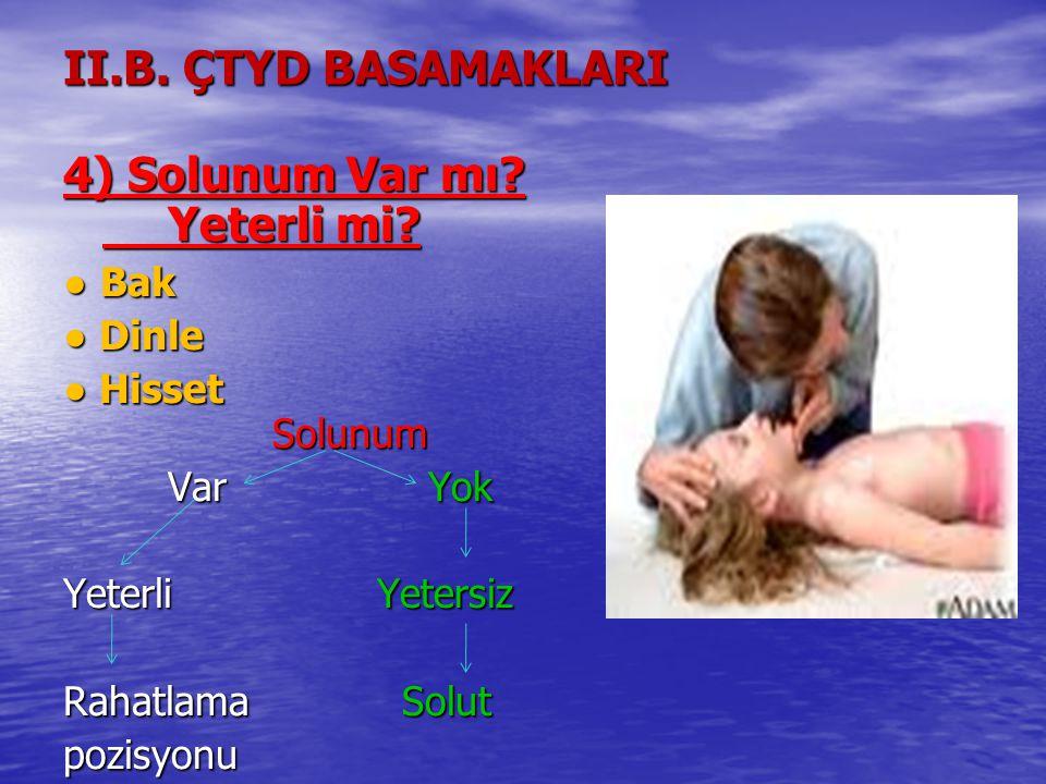 II.B.ÇTYD BASAMAKLARI 4) Solunum Var mı. Yeterli mi.