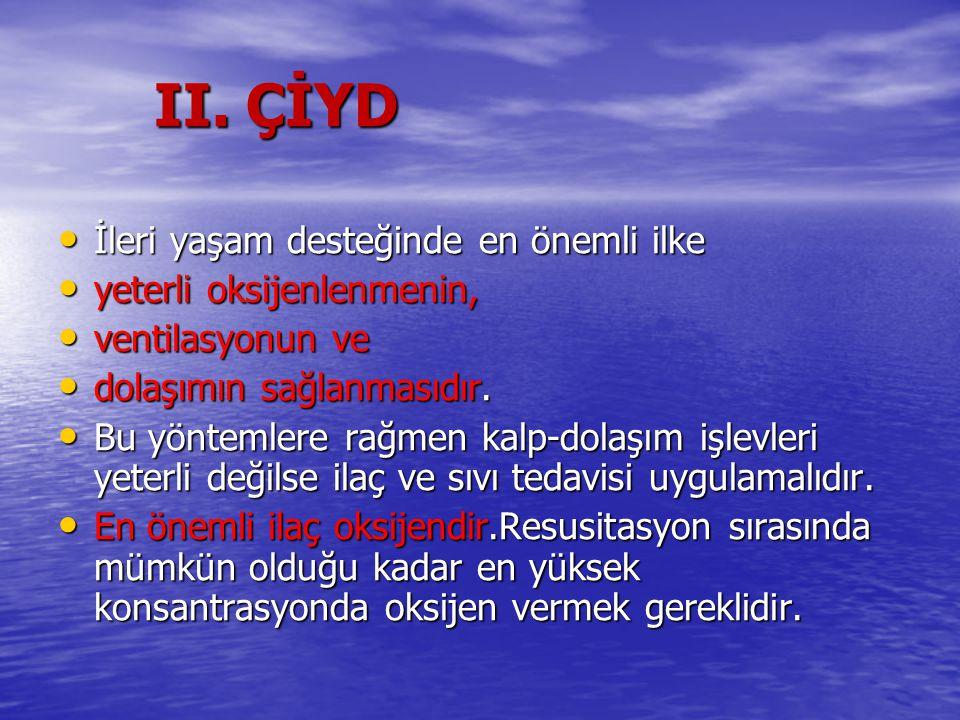II. ÇİYD İleri yaşam desteğinde en önemli ilke İleri yaşam desteğinde en önemli ilke yeterli oksijenlenmenin, yeterli oksijenlenmenin, ventilasyonun v