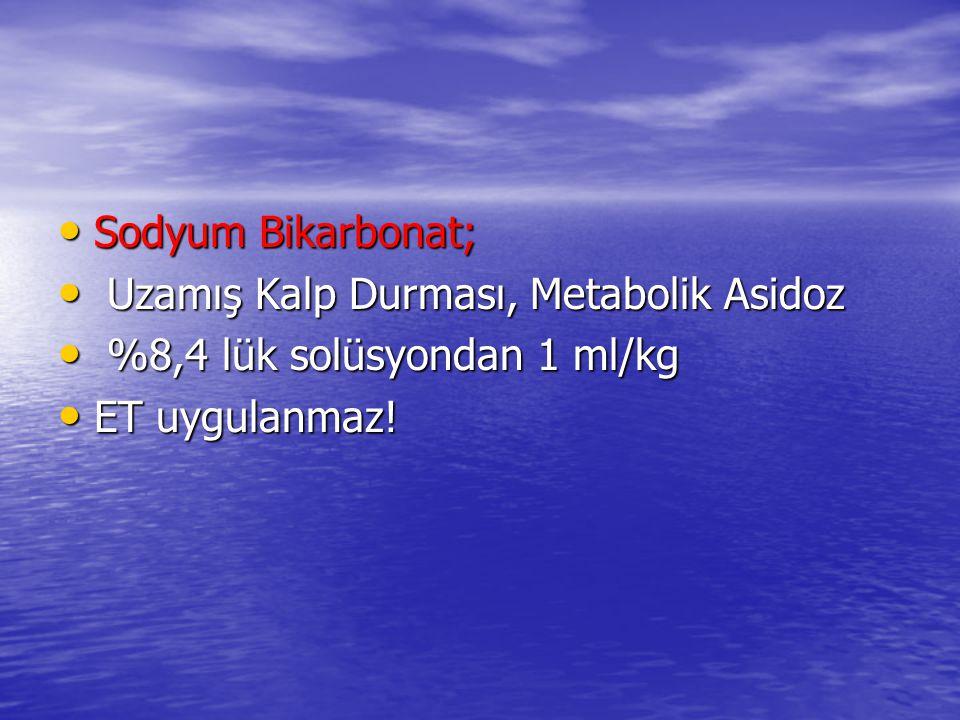 Sodyum Bikarbonat; Sodyum Bikarbonat; Uzamış Kalp Durması, Metabolik Asidoz Uzamış Kalp Durması, Metabolik Asidoz %8,4 lük solüsyondan 1 ml/kg %8,4 lük solüsyondan 1 ml/kg ET uygulanmaz.