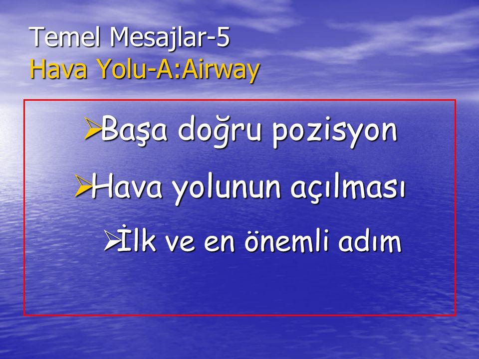 Temel Mesajlar-5 Hava Yolu-A:Airway  Başa doğru pozisyon  Hava yolunun açılması  İlk ve en önemli adım