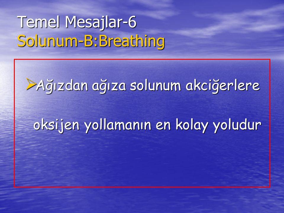 Temel Mesajlar-6 Solunum-B:Breathing  Ağızdan ağıza solunum akciğerlere oksijen yollamanın en kolay yoludur