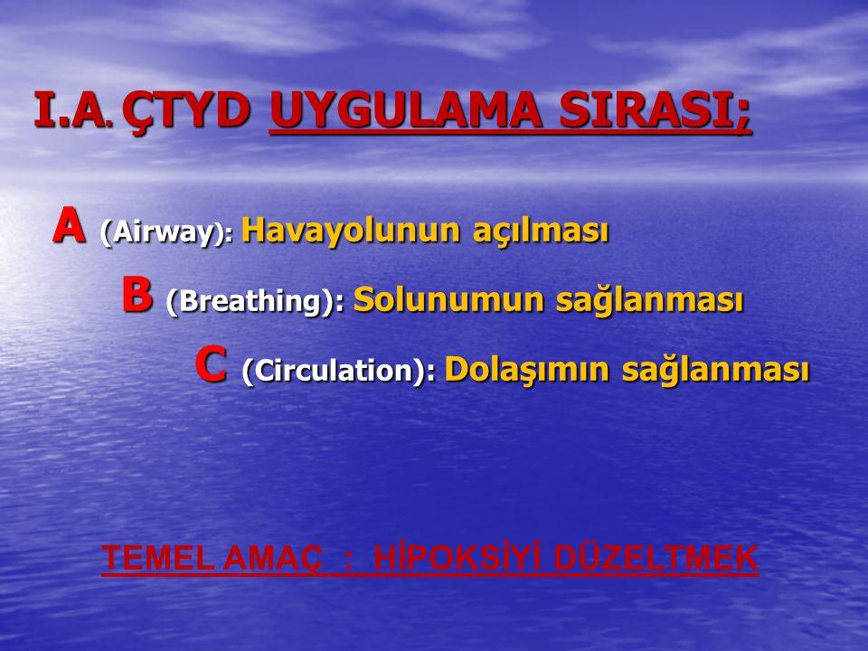 I.A. ÇTYD UYGULAMA SIRASI; A (Airway ): Havayolunun açılması B (Breathing): Solunumun sağlanması B (Breathing): Solunumun sağlanması C (Circulation):