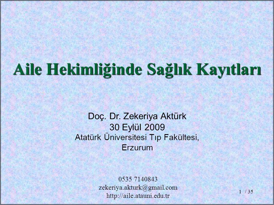 / 351 Doç. Dr. Zekeriya Aktürk 30 Eylül 2009 Atatürk Üniversitesi Tıp Fakültesi, Erzurum Aile Hekimliğinde Sağlık Kayıtları 0535 7140843 zekeriya.aktu