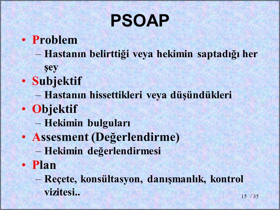 / 3515 PSOAP Problem –Hastanın belirttiği veya hekimin saptadığı her şey Subjektif –Hastanın hissettikleri veya düşündükleri Objektif –Hekimin bulgula