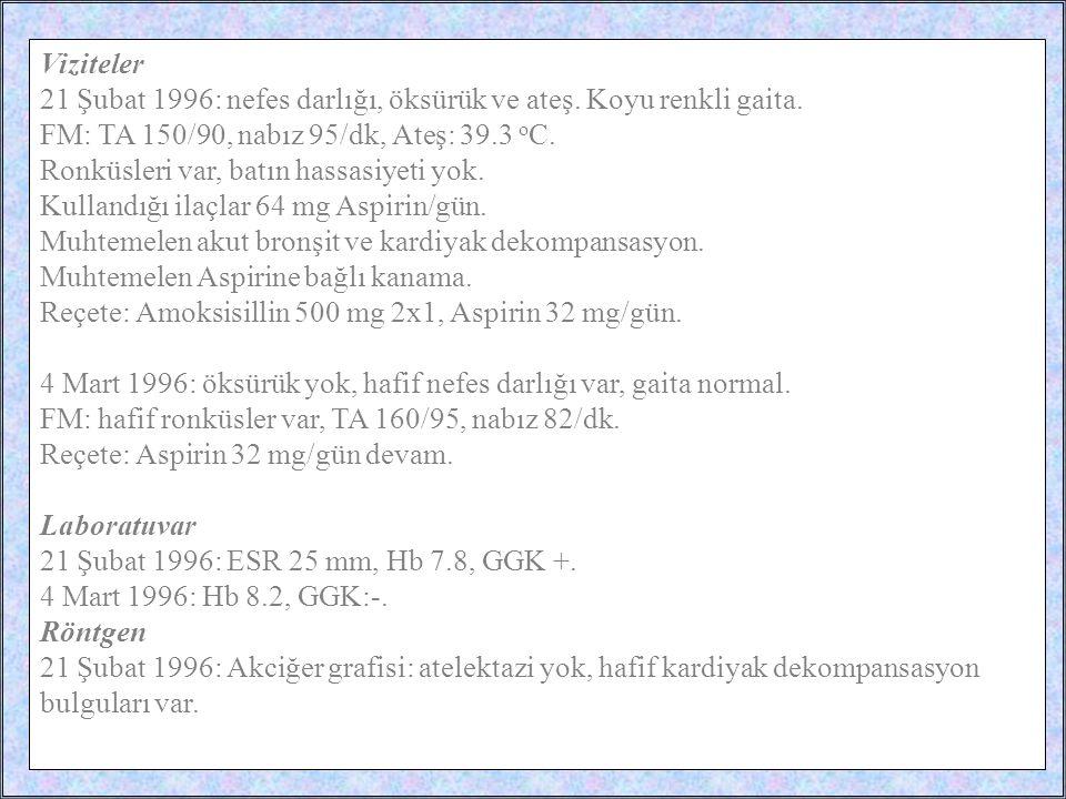 / 3516 Viziteler 21 Şubat 1996: nefes darlığı, öksürük ve ateş. Koyu renkli gaita. FM: TA 150/90, nabız 95/dk, Ateş: 39.3 o C. Ronküsleri var, batın h