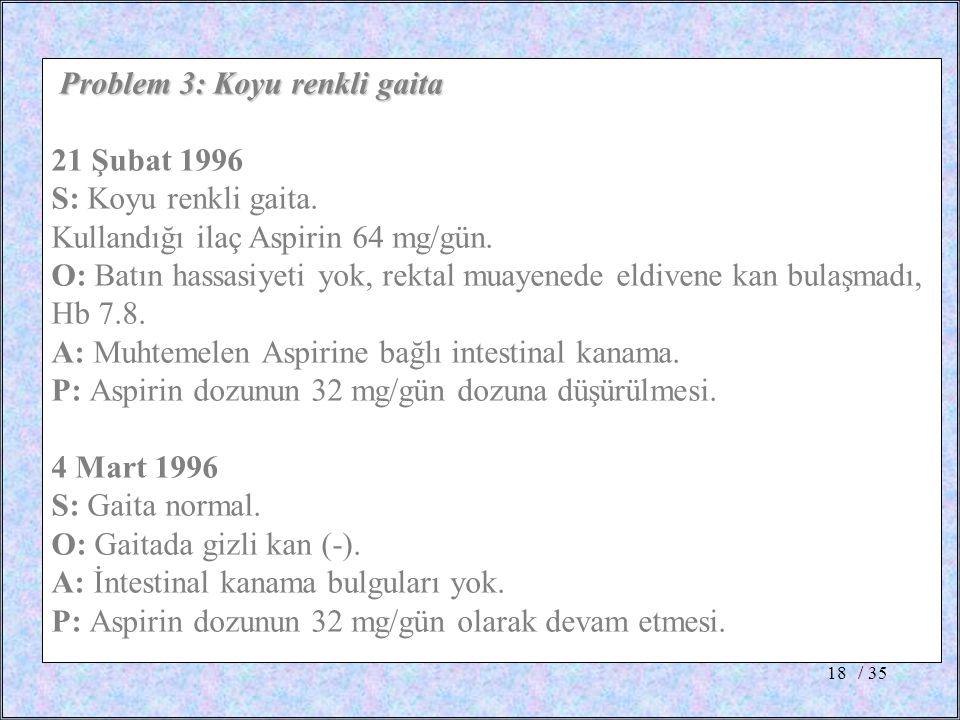 / 3518 Problem 3: Koyu renkli gaita 21 Şubat 1996 S: Koyu renkli gaita. Kullandığı ilaç Aspirin 64 mg/gün. O: Batın hassasiyeti yok, rektal muayenede