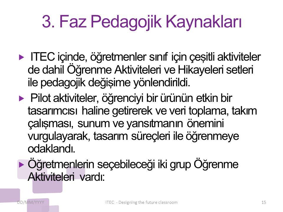 3. Faz Pedagojik Kaynakları  ITEC içinde, öğretmenler sınıf için çeşitli aktiviteler de dahil Öğrenme Aktiviteleri ve Hikayeleri setleri ile pedagoji