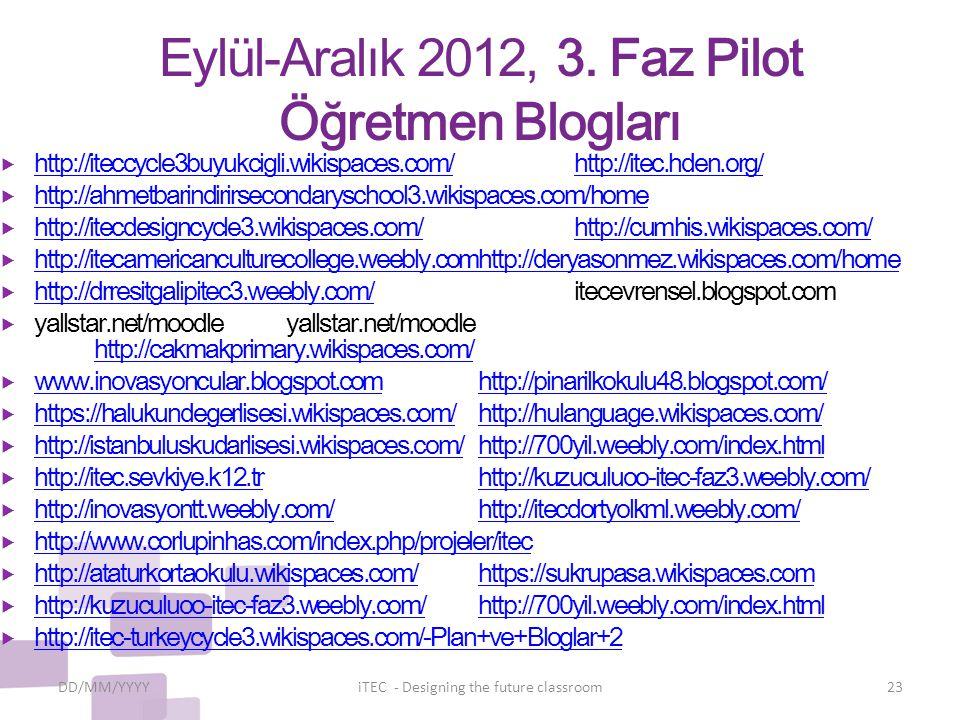 Eylül-Aralık 2012, 3. Faz Pilot Öğretmen Blogları  http://iteccycle3buyukcigli.wikispaces.com/http://itec.hden.org/ http://iteccycle3buyukcigli.wikis
