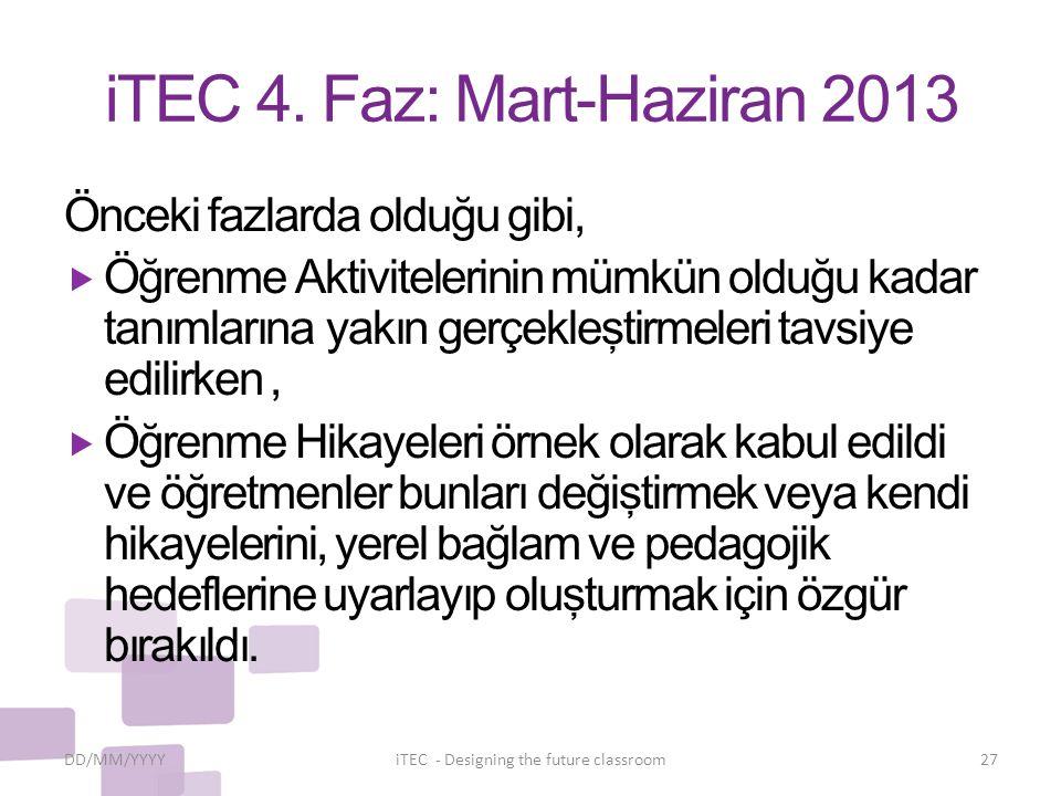 iTEC 4. Faz: Mart-Haziran 2013 Önceki fazlarda olduğu gibi,  Öğrenme Aktivitelerinin mümkün olduğu kadar tanımlarına yakın gerçekleştirmeleri tavsiye