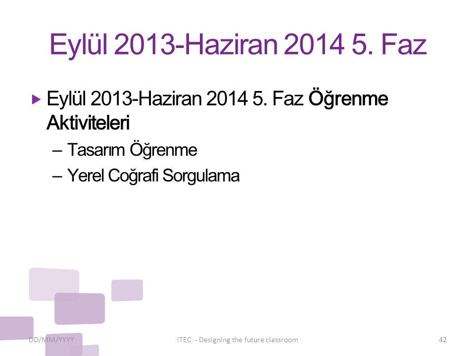 Eylül 2013-Haziran 2014 5. Faz DD/MM/YYYYiTEC - Designing the future classroom42  Eylül 2013-Haziran 2014 5. Faz Öğrenme Aktiviteleri – Tasarım Öğren