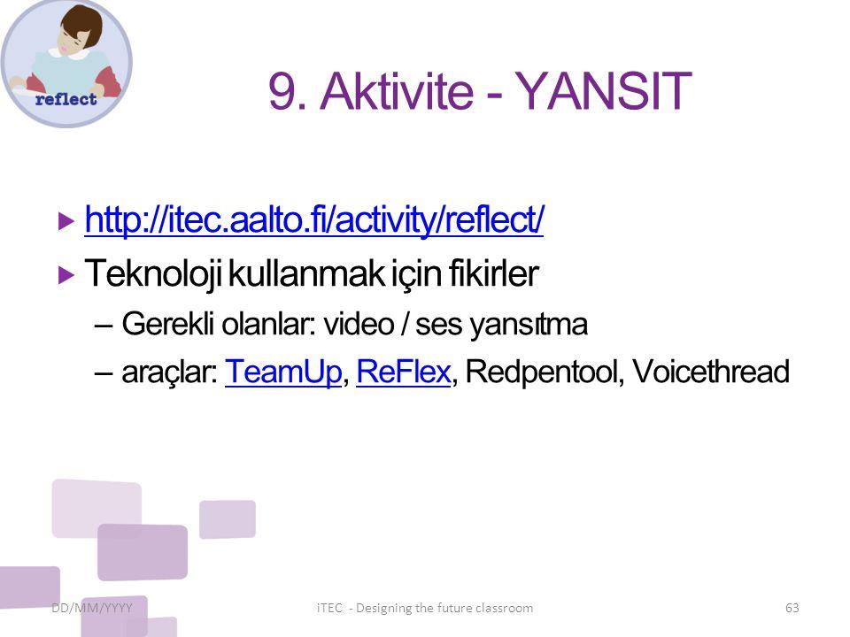 9. Aktivite - YANSIT  http://itec.aalto.fi/activity/reflect/ http://itec.aalto.fi/activity/reflect/  Teknoloji kullanmak için fikirler – Gerekli ola