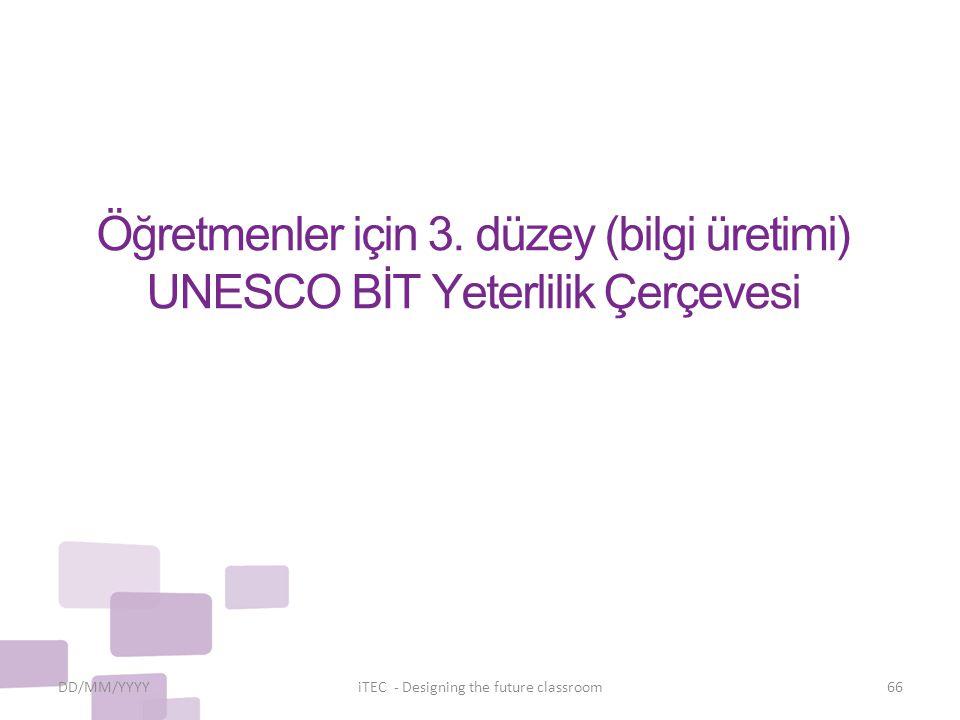 Öğretmenler için 3. düzey (bilgi üretimi) UNESCO BİT Yeterlilik Çerçevesi DD/MM/YYYYiTEC - Designing the future classroom66