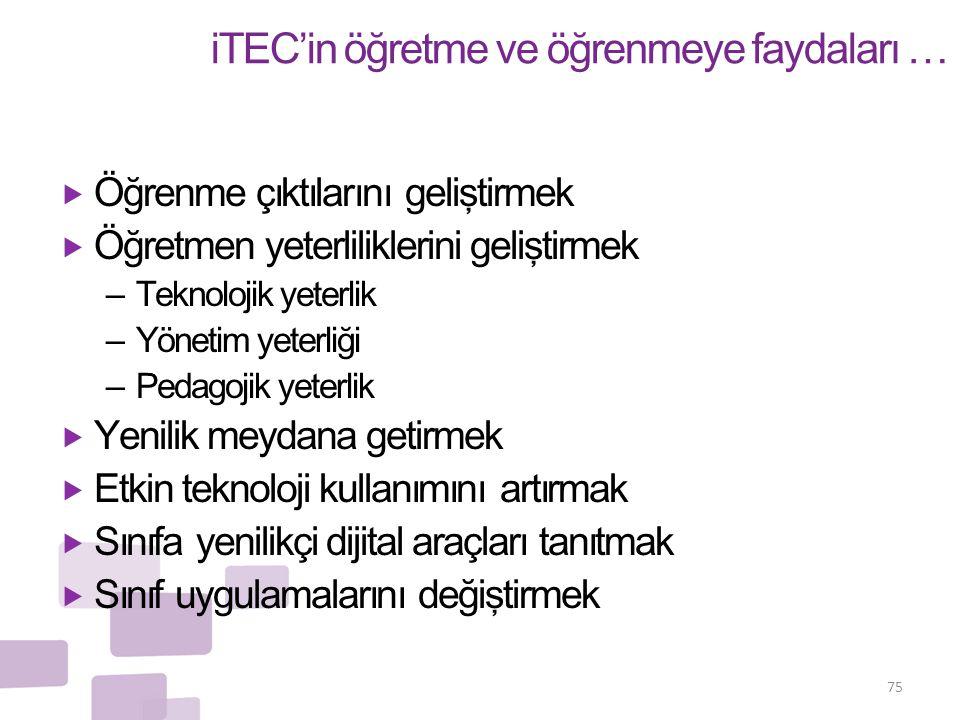 iTEC'in öğretme ve öğrenmeye faydaları …  Öğrenme çıktılarını geliştirmek  Öğretmen yeterliliklerini geliştirmek – Teknolojik yeterlik – Yönetim yet