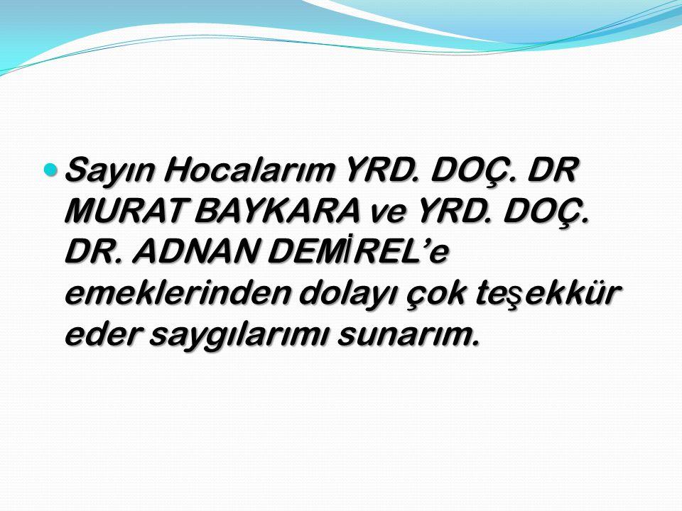 Sayın Hocalarım YRD. DOÇ. DR MURAT BAYKARA ve YRD. DOÇ. DR. ADNAN DEM İ REL'e emeklerinden dolayı çok te ş ekkür eder saygılarımı sunarım. Sayın Hocal