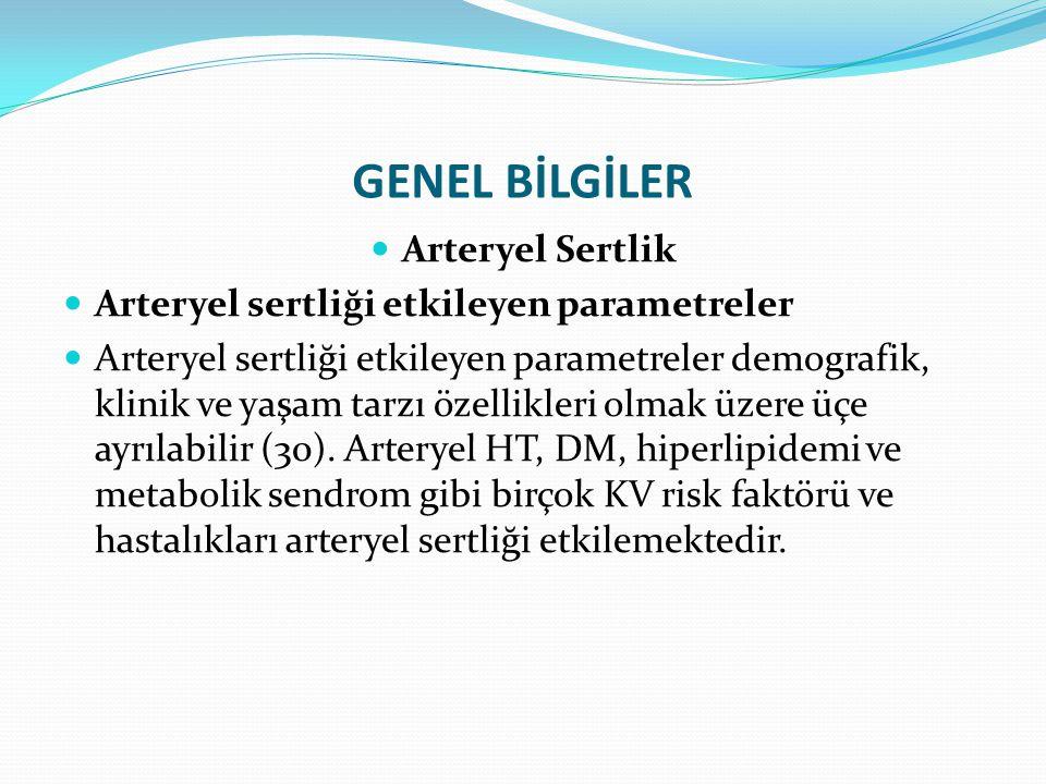 GENEL BİLGİLER Arteryel Sertlik Arteryel sertliği etkileyen parametreler Arteryel sertliği etkileyen parametreler demografik, klinik ve yaşam tarzı öz