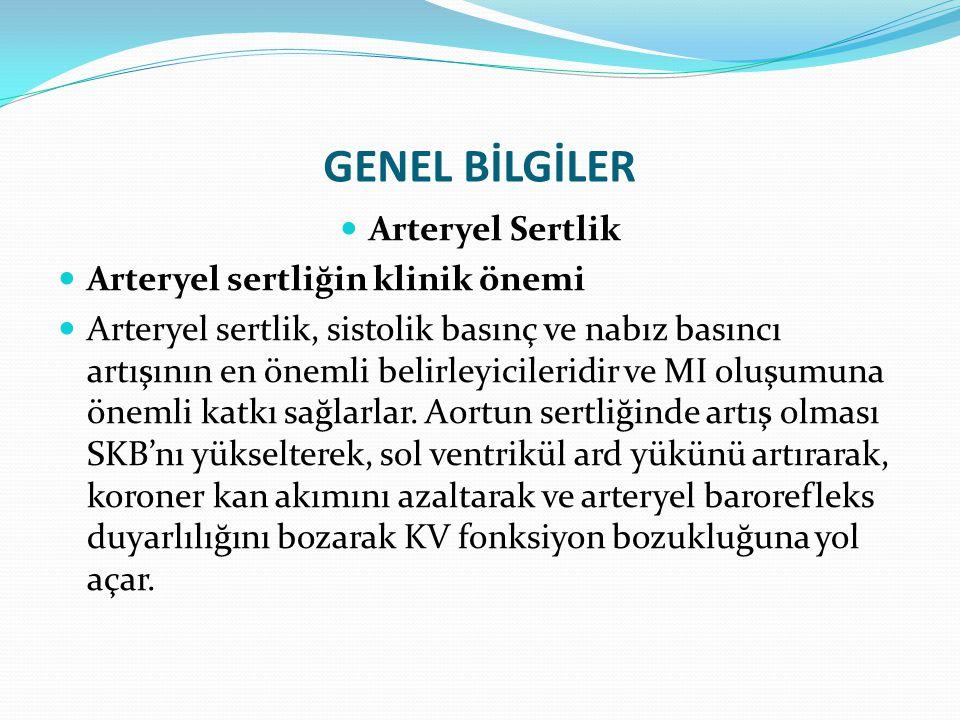 GENEL BİLGİLER Arteryel Sertlik Arteryel sertliğin klinik önemi Arteryel sertlik, sistolik basınç ve nabız basıncı artışının en önemli belirleyicileri