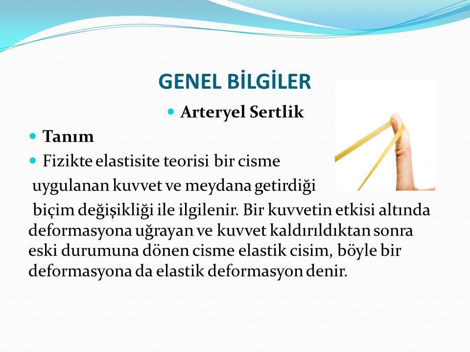 GENEL BİLGİLER Arteryel Sertlik Arteryel sertlik mekanizmaları İkinci mekanizma endotel/düz kas etkileşimidir.