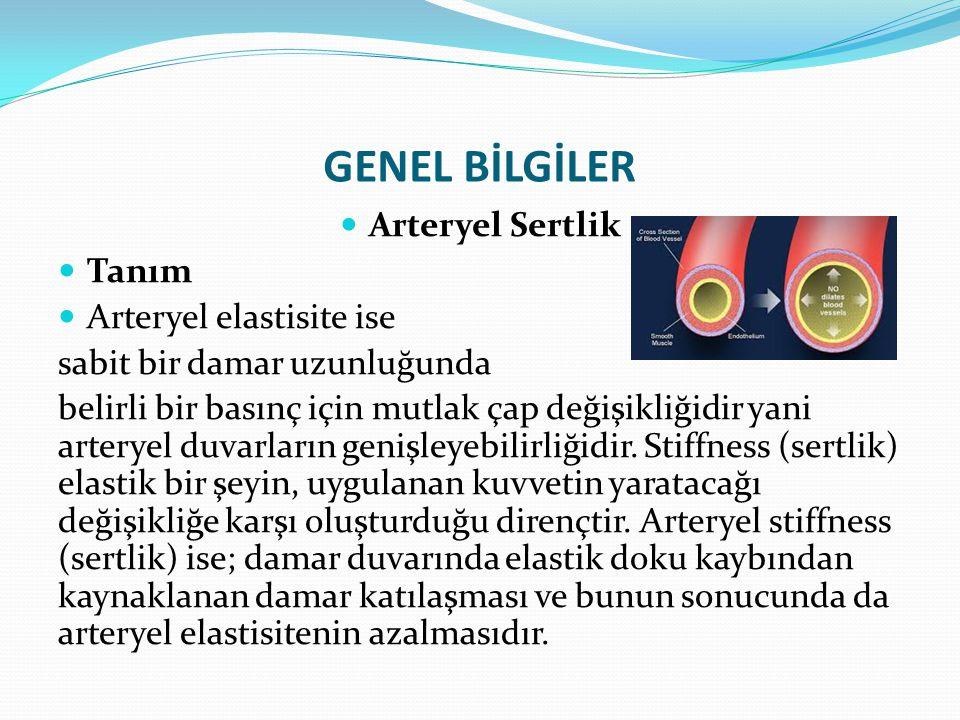 GENEL BİLGİLER Arteryel Sertlik Arteryel sertliği etkileyen parametreler 1-Yaş2-Cinsiyet 3-Kardiyovasküelr hastalıklar ve risk faktörleri4- Beslenme ve yaşam tarzı Hipertansiyon Koroner arter hastalığı Periferik arter hastalığı Kalp yetmezliği Kardiak sendrom X Endotel disfonksiyonu Yüksek oranda tuz tüketimi Obezite Sigara Kafein Kronik alkol kullanımı Sedanter yaşam tarzı 5-Endokrinolojik ve metabolik bozukluklar6-Diğer nedenler Diabetes Mellitus Bozumlu glikoz toleransı Dislipidemi Metabolik sendrom Hipotiroidizm Hiperhomosistinemi Genetik Menapoz İnflamasyon Son dönem böbrek yetmezliği Uyku apne sendromu Ailesel aterosklerotik hastalık