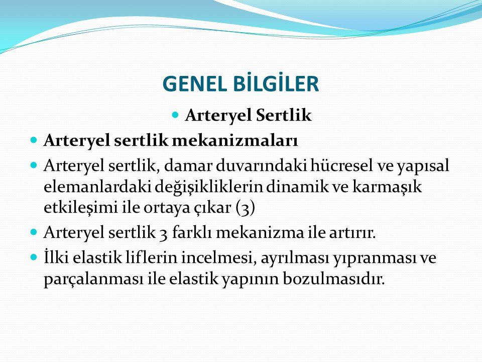 GENEL BİLGİLER Arteryel Sertlik Aortik sertlik Aort sert hale geldikçe, tamponlama mekanizmasının azalması sonucu sistolik basıncın artar buna bağlı olarakta nabız basıncı yükselir.