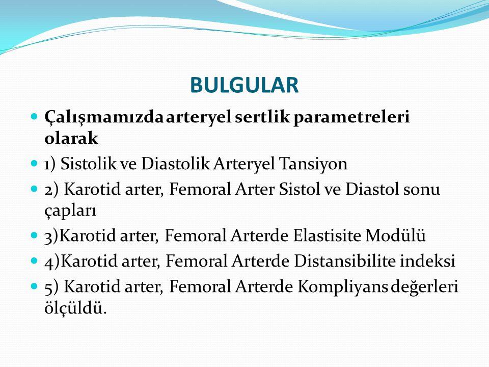 BULGULAR Çalışmamızda arteryel sertlik parametreleri olarak 1) Sistolik ve Diastolik Arteryel Tansiyon 2) Karotid arter, Femoral Arter Sistol ve Diast