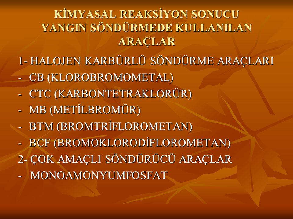 KİMYASAL REAKSİYON SONUCU YANGIN SÖNDÜRMEDE KULLANILAN ARAÇLAR 1- HALOJEN KARBÜRLÜ SÖNDÜRME ARAÇLARI -CB (KLOROBROMOMETAL) -CTC (KARBONTETRAKLORÜR) -M