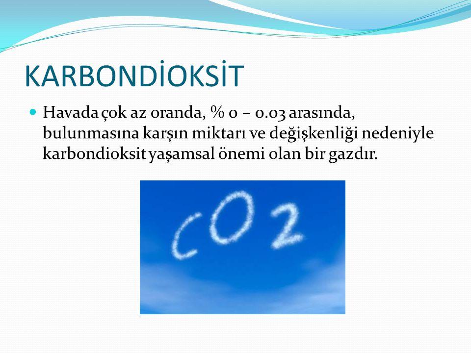 KARBONDİOKSİT Havada çok az oranda, % 0 – 0.03 arasında, bulunmasına karşın miktarı ve değişkenliği nedeniyle karbondioksit yaşamsal önemi olan bir ga