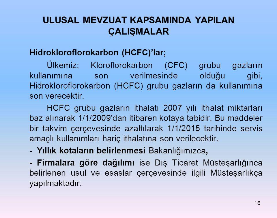 16 Hidrokloroflorokarbon (HCFC)'lar; Ülkemiz; Kloroflorokarbon (CFC) grubu gazların kullanımına son verilmesinde olduğu gibi, Hidrokloroflorokarbon (H