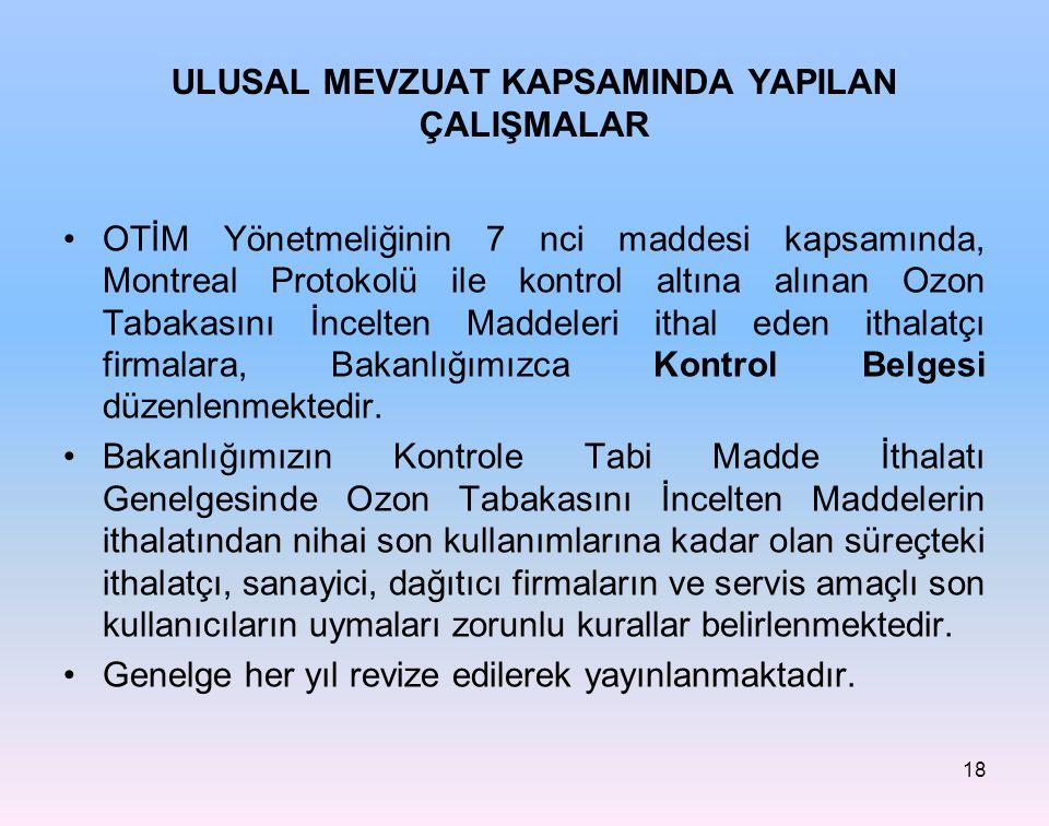 18 ULUSAL MEVZUAT KAPSAMINDA YAPILAN ÇALIŞMALAR OTİM Yönetmeliğinin 7 nci maddesi kapsamında, Montreal Protokolü ile kontrol altına alınan Ozon Tabaka