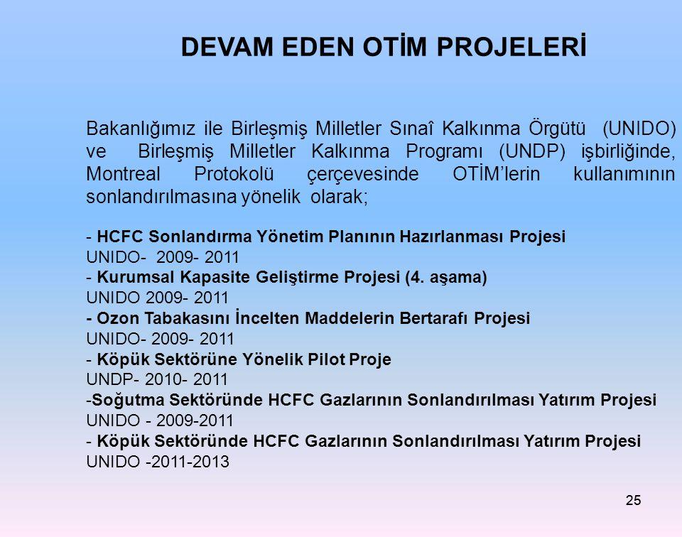 25 Bakanlığımız ile Birleşmiş Milletler Sınaî Kalkınma Örgütü (UNIDO) ve Birleşmiş Milletler Kalkınma Programı (UNDP) işbirliğinde, Montreal Protokolü