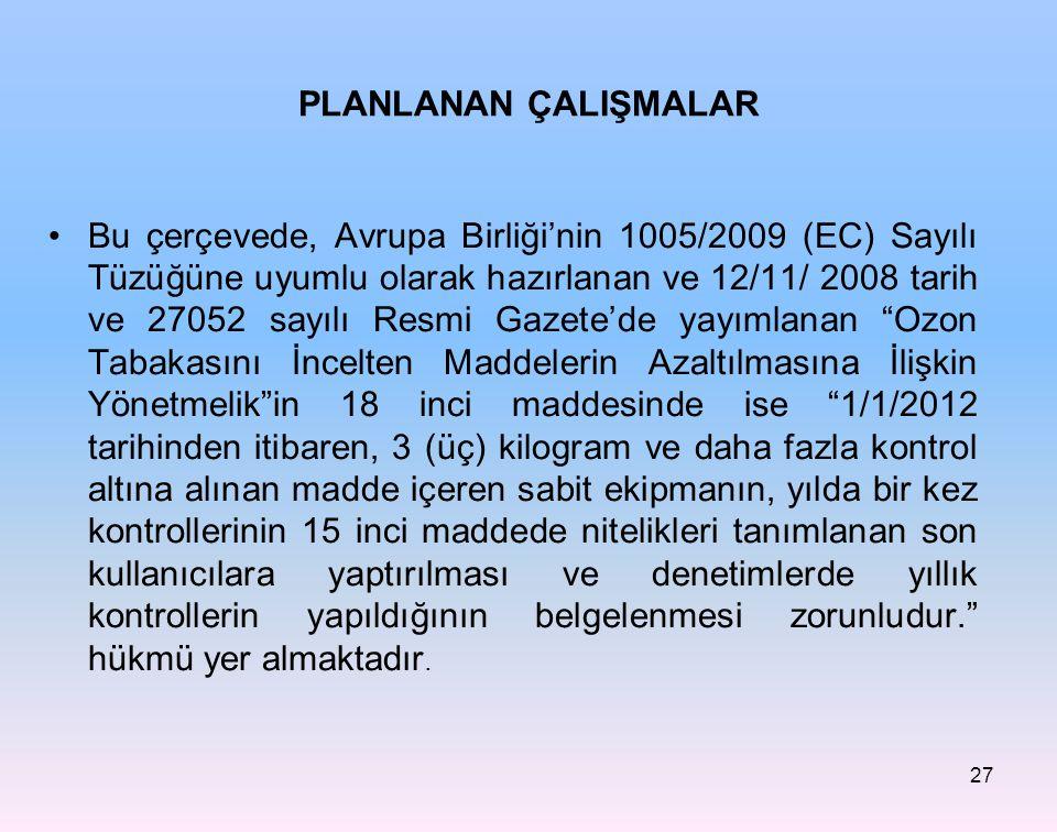 PLANLANAN ÇALIŞMALAR Bu çerçevede, Avrupa Birliği'nin 1005/2009 (EC) Sayılı Tüzüğüne uyumlu olarak hazırlanan ve 12/11/ 2008 tarih ve 27052 sayılı Res