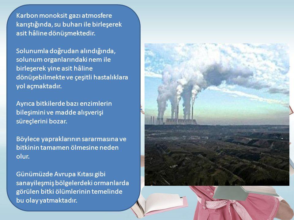 Karbon monoksit gazı atmosfere karıştığında, su buharı ile birleşerek asit hâline dönüşmektedir. Solunumla doğrudan alındığında, solunum organlarındak