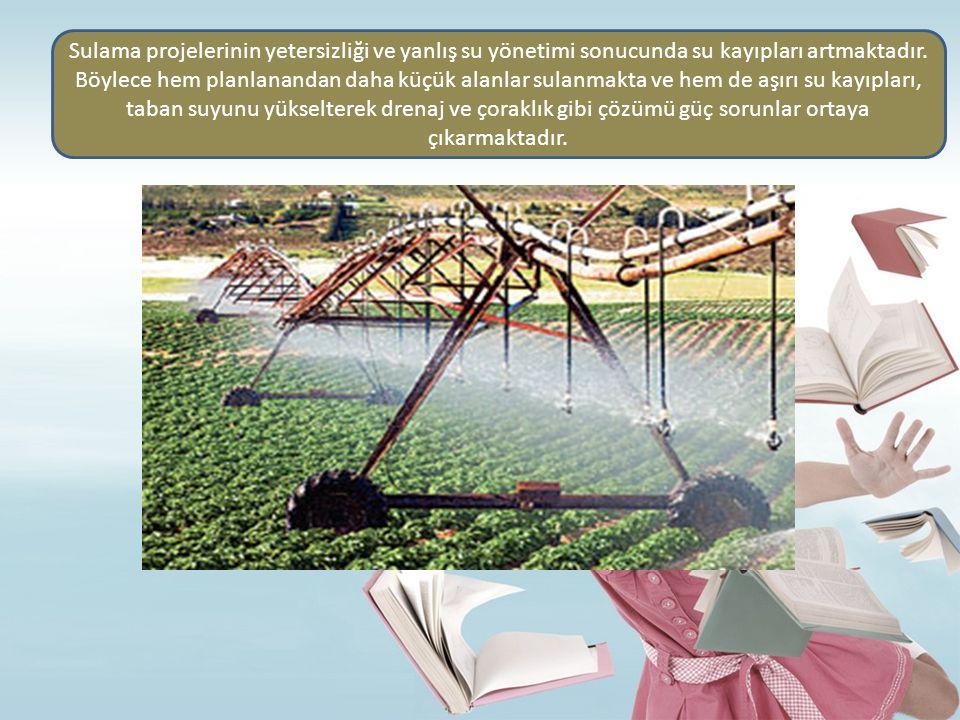 Sulama projelerinin yetersizliği ve yanlış su yönetimi sonucunda su kayıpları artmaktadır. Böylece hem planlanandan daha küçük alanlar sulanmakta ve h