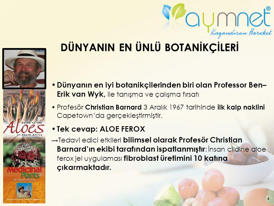 4 DÜNYANIN EN ÜNLÜ BOTANİKÇİLERİ Dünyanın en iyi botanikçilerinden biri olan Professor Ben– Erik van Wyk, ile tanışma ve çalışma fırsatı Profesör Chri