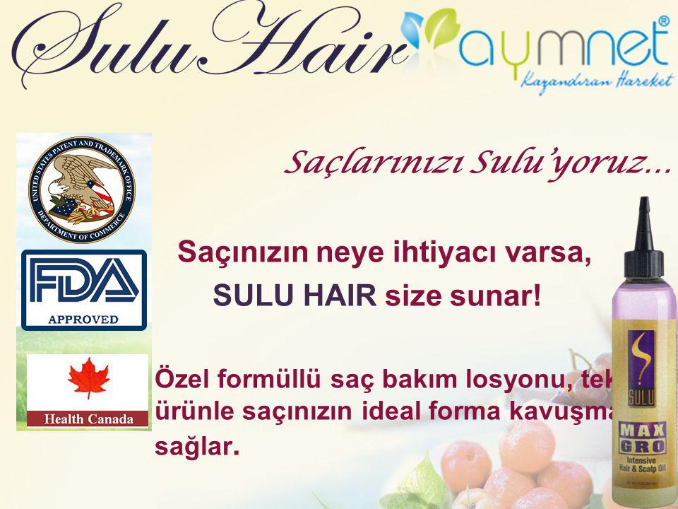 Saçlarınızı Sulu'yoruz… Saçınızın neye ihtiyacı varsa, SULU HAIR size sunar! Özel formüllü saç bakım losyonu, tek ürünle saçınızın ideal forma kavuşma