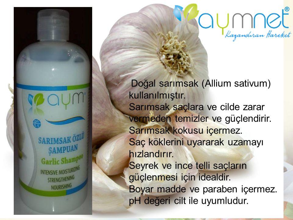 Doğal sarımsak (Allium sativum) kullanılmıştır. Sarımsak saçlara ve cilde zarar vermeden temizler ve güçlendirir. Sarımsak kokusu içermez. Saç kökleri
