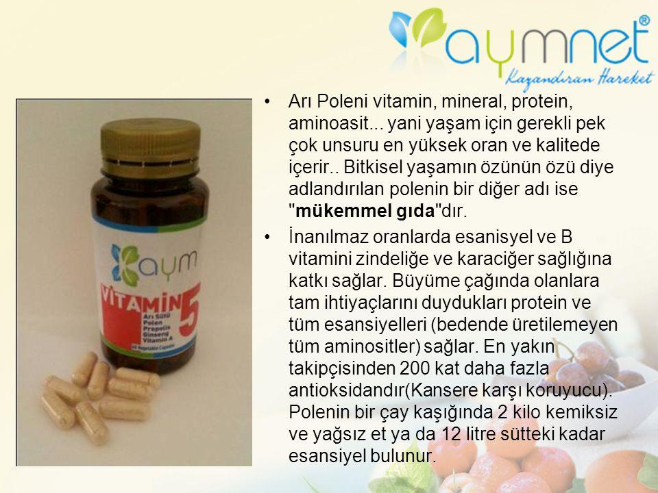 Arı Poleni vitamin, mineral, protein, aminoasit... yani yaşam için gerekli pek çok unsuru en yüksek oran ve kalitede içerir.. Bitkisel yaşamın özünün