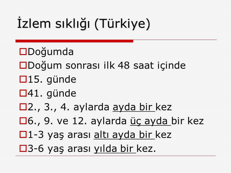 İzlem sıklığı (Türkiye)  Doğumda  Doğum sonrası ilk 48 saat içinde  15. günde  41. günde  2., 3., 4. aylarda ayda bir kez  6., 9. ve 12. aylarda