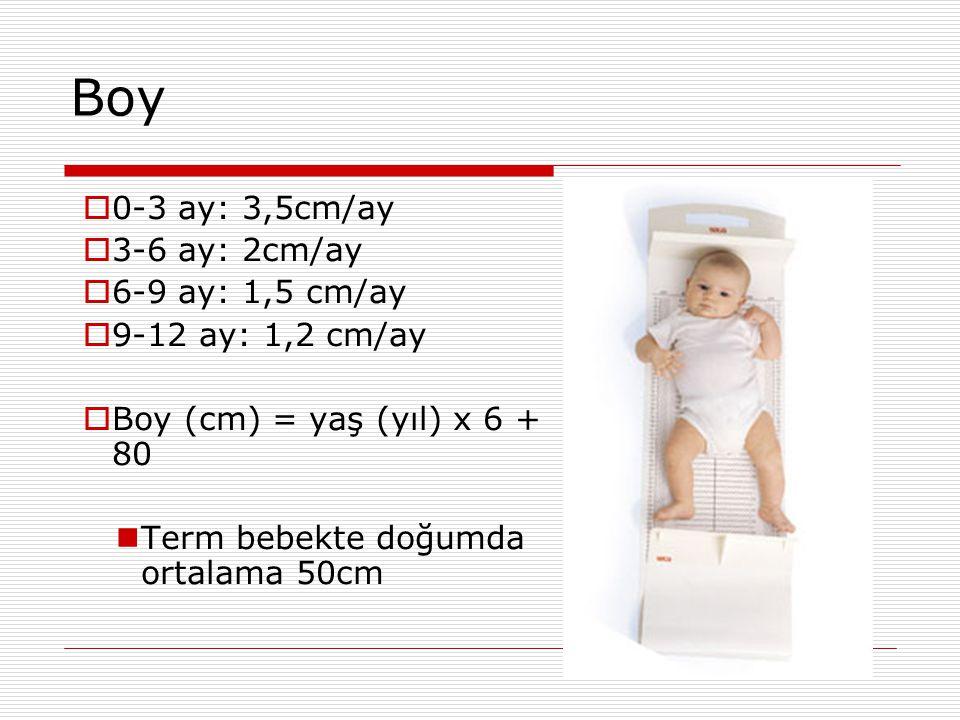 Boy  0-3 ay: 3,5cm/ay  3-6 ay: 2cm/ay  6-9 ay: 1,5 cm/ay  9-12 ay: 1,2 cm/ay  Boy (cm) = yaş (yıl) x 6 + 80 Term bebekte doğumda ortalama 50cm